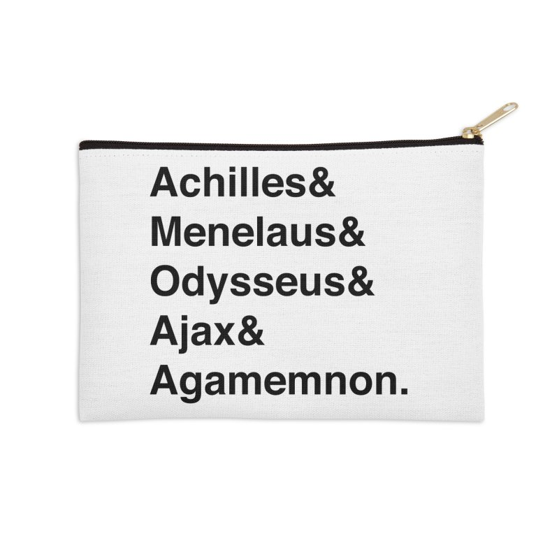 Helvetica Heroes of the Trojan War (Black Text) Accessories Zip Pouch by Myths Baby's Artist Shop