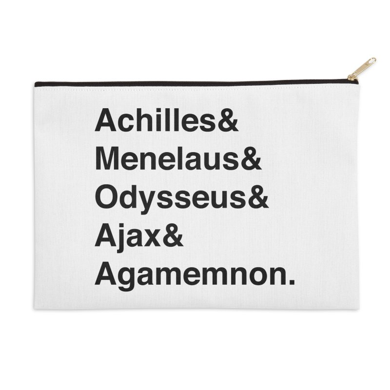 Helvetica Heroes of the Trojan War (Black Text) Accessories Zip Pouch by Let's Talk About Myths, Baby! Merch Shop