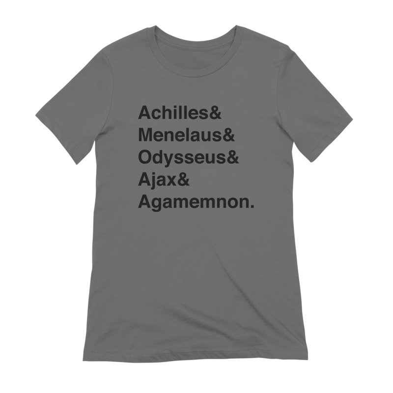 Helvetica Heroes of the Trojan War (Black Text) Women's Extra Soft T-Shirt by Myths Baby's Artist Shop
