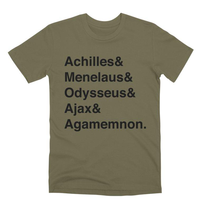 Helvetica Heroes of the Trojan War (Black Text) Men's Premium T-Shirt by Myths Baby's Artist Shop