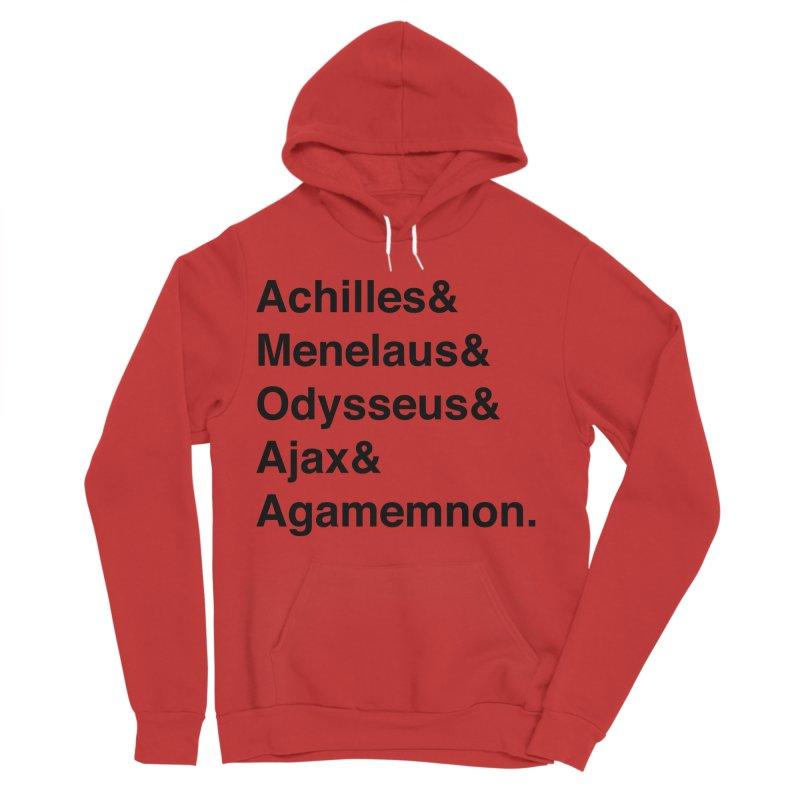 Helvetica Heroes of the Trojan War (Black Text) Men's Sponge Fleece Pullover Hoody by Myths Baby's Artist Shop