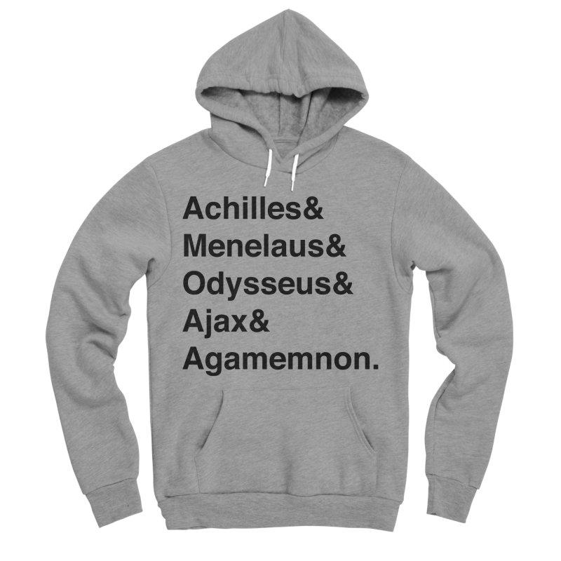 Helvetica Heroes of the Trojan War (Black Text) Women's Sponge Fleece Pullover Hoody by Myths Baby's Artist Shop