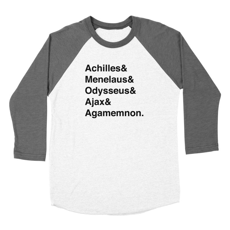 Helvetica Heroes of the Trojan War (Black Text) Men's Longsleeve T-Shirt by Let's Talk About Myths, Baby! Merch Shop