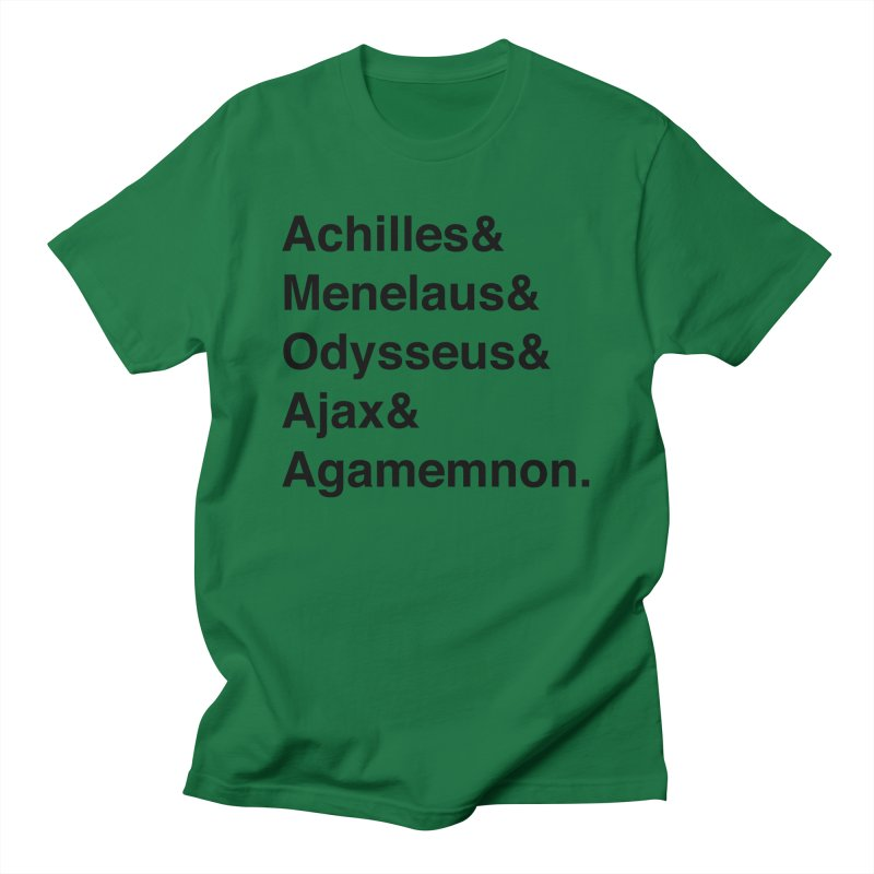 Helvetica Heroes of the Trojan War (Black Text) Men's T-Shirt by Let's Talk About Myths, Baby! Merch Shop