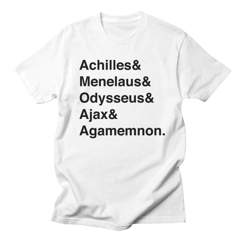Helvetica Heroes of the Trojan War (Black Text) Women's Regular Unisex T-Shirt by Myths Baby's Artist Shop