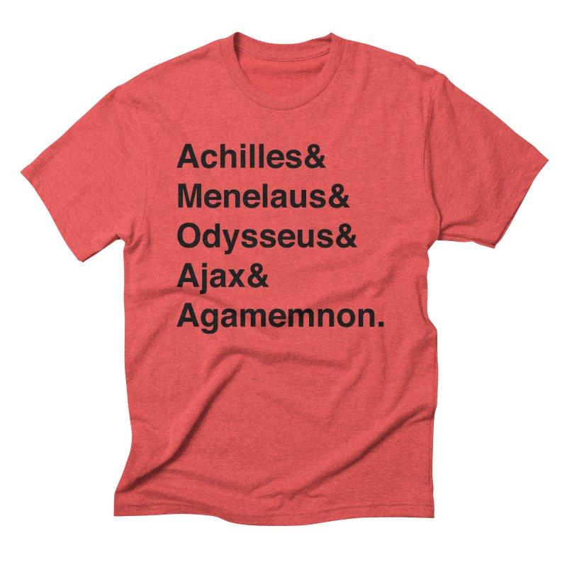 Helvetica Heroes of the Trojan War (Black Text) Men's Triblend T-Shirt by Myths Baby's Artist Shop