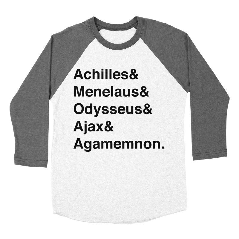 Helvetica Heroes of the Trojan War (Black Text) Men's Baseball Triblend Longsleeve T-Shirt by Myths Baby's Artist Shop