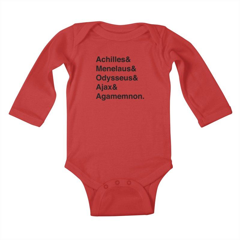Helvetica Heroes of the Trojan War (Black Text) Kids Baby Longsleeve Bodysuit by Let's Talk About Myths, Baby! Merch Shop