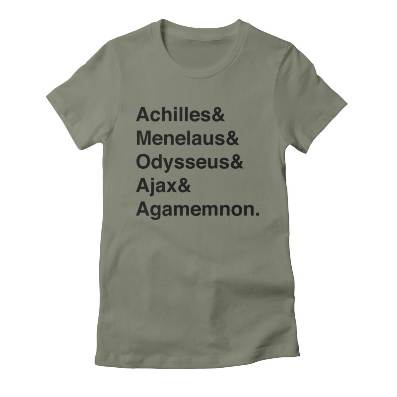 Helvetica Heroes of the Trojan War (Black Text) Women's T-Shirt by Let's Talk About Myths, Baby! Merch Shop