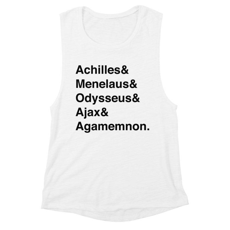Helvetica Heroes of the Trojan War (Black Text) Women's Muscle Tank by Myths Baby's Artist Shop