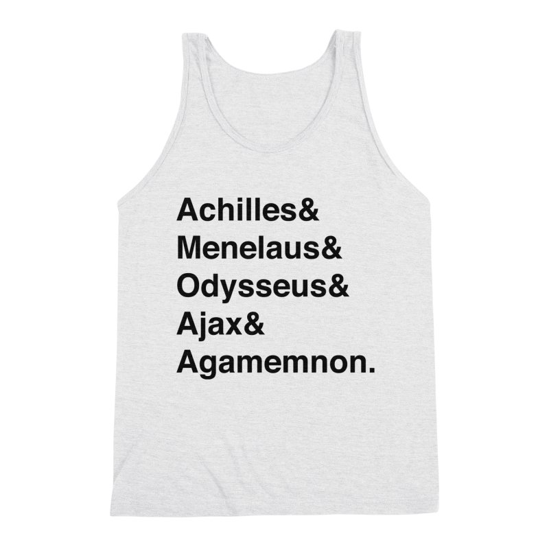 Helvetica Heroes of the Trojan War (Black Text) Men's Triblend Tank by Myths Baby's Artist Shop