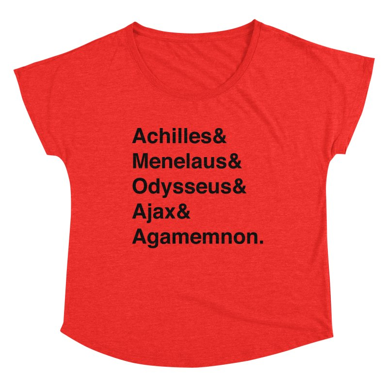 Helvetica Heroes of the Trojan War (Black Text) Women's Scoop Neck by Let's Talk About Myths, Baby! Merch Shop