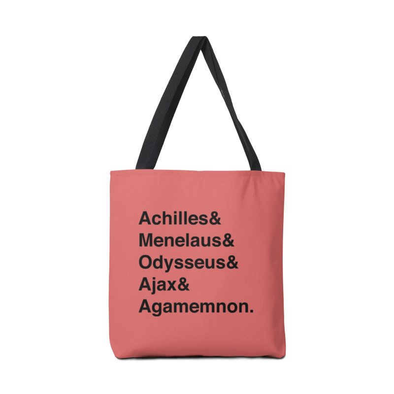 Helvetica Heroes of the Trojan War (Black Text) Accessories Bag by Let's Talk About Myths, Baby! Merch Shop
