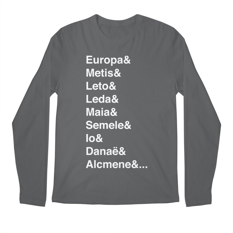 Helvetica Greek Survivors (White Text) **LAST CHANCE** Men's Longsleeve T-Shirt by Let's Talk About Myths, Baby! Merch Shop