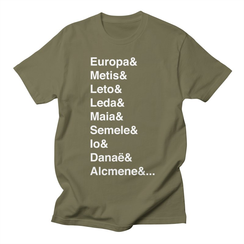 Helvetica Greek Survivors (White Text) **LAST CHANCE** Men's T-Shirt by Let's Talk About Myths, Baby! Merch Shop