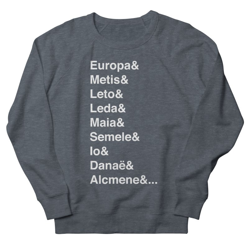 Helvetica Greek Survivors (White Text) Women's French Terry Sweatshirt by Myths Baby's Artist Shop