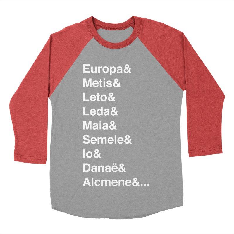 Helvetica Greek Survivors (White Text) Men's Baseball Triblend Longsleeve T-Shirt by Myths Baby's Artist Shop