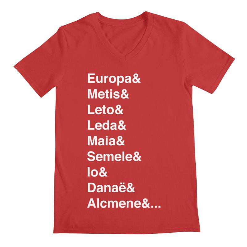 Helvetica Greek Survivors (White Text) **LAST CHANCE** Men's V-Neck by Let's Talk About Myths, Baby! Merch Shop
