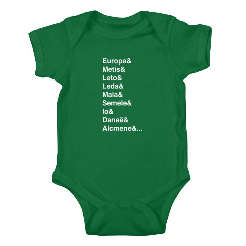 Helvetica Greek Survivors (White Text) **LAST CHANCE** Kids Baby Bodysuit by Let's Talk About Myths, Baby! Merch Shop