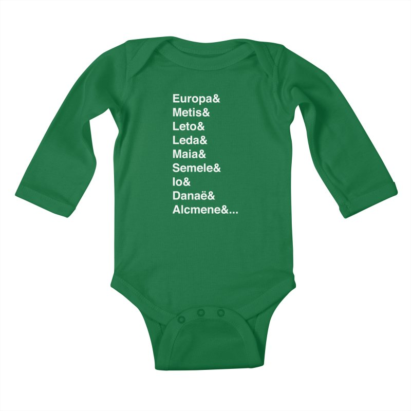 Helvetica Greek Survivors (White Text) Kids Baby Longsleeve Bodysuit by Myths Baby's Artist Shop