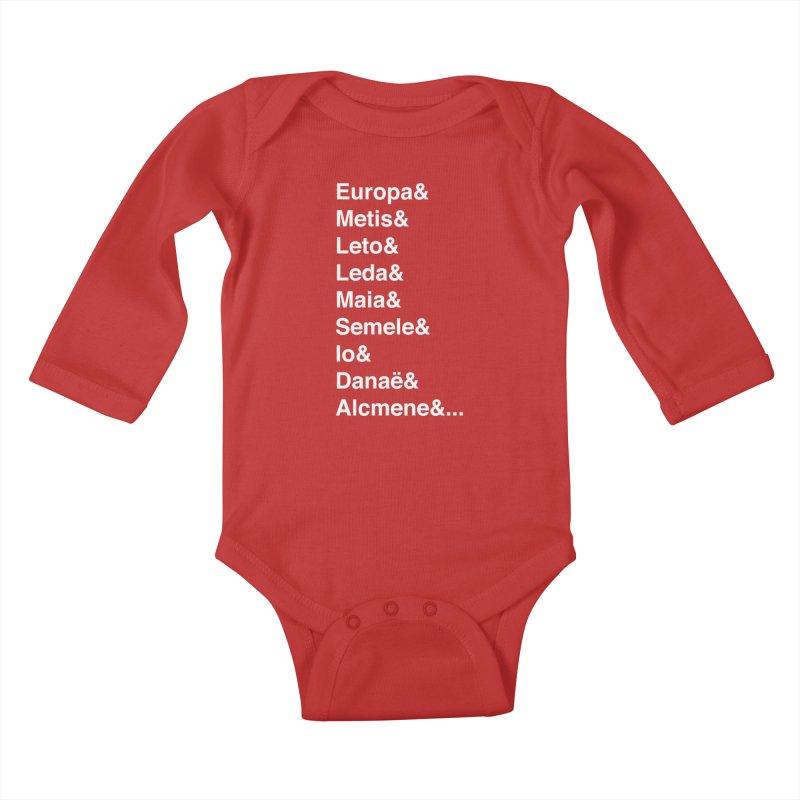 Helvetica Greek Survivors (White Text) **LAST CHANCE** Kids Baby Longsleeve Bodysuit by Let's Talk About Myths, Baby! Merch Shop