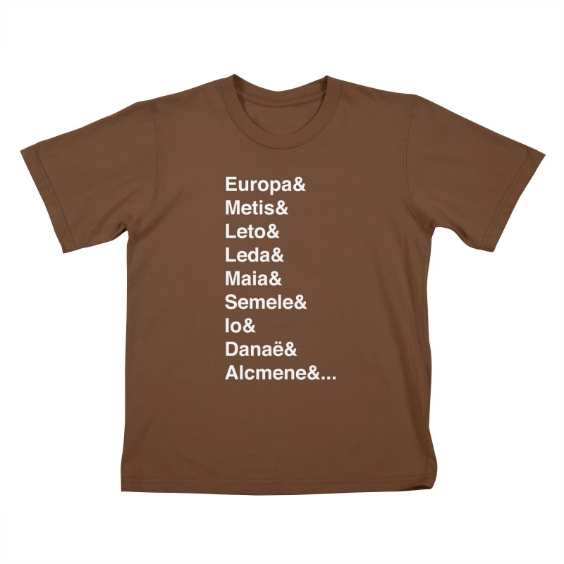 Helvetica Greek Survivors (White Text) Kids T-Shirt by Myths Baby's Artist Shop
