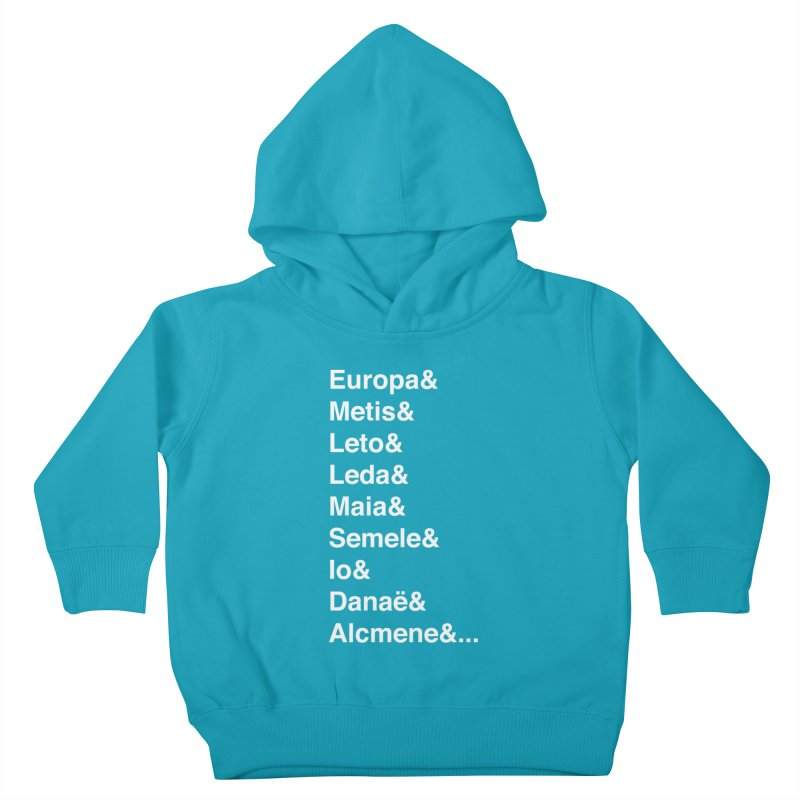 Helvetica Greek Survivors (White Text) Kids Toddler Pullover Hoody by Myths Baby's Artist Shop