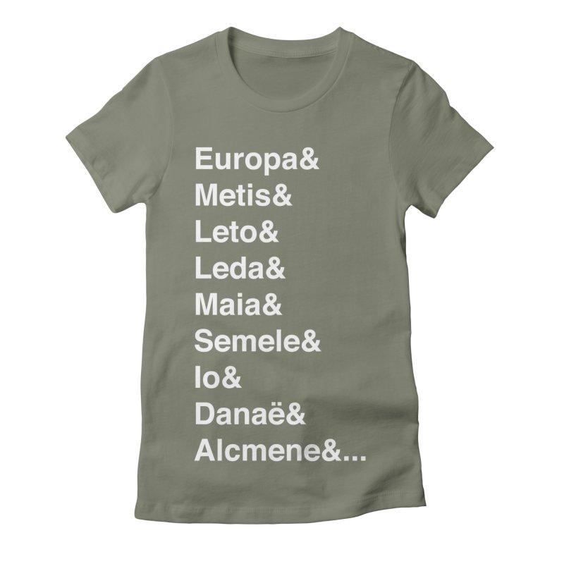 Helvetica Greek Survivors (White Text) **LAST CHANCE** Women's T-Shirt by Let's Talk About Myths, Baby! Merch Shop
