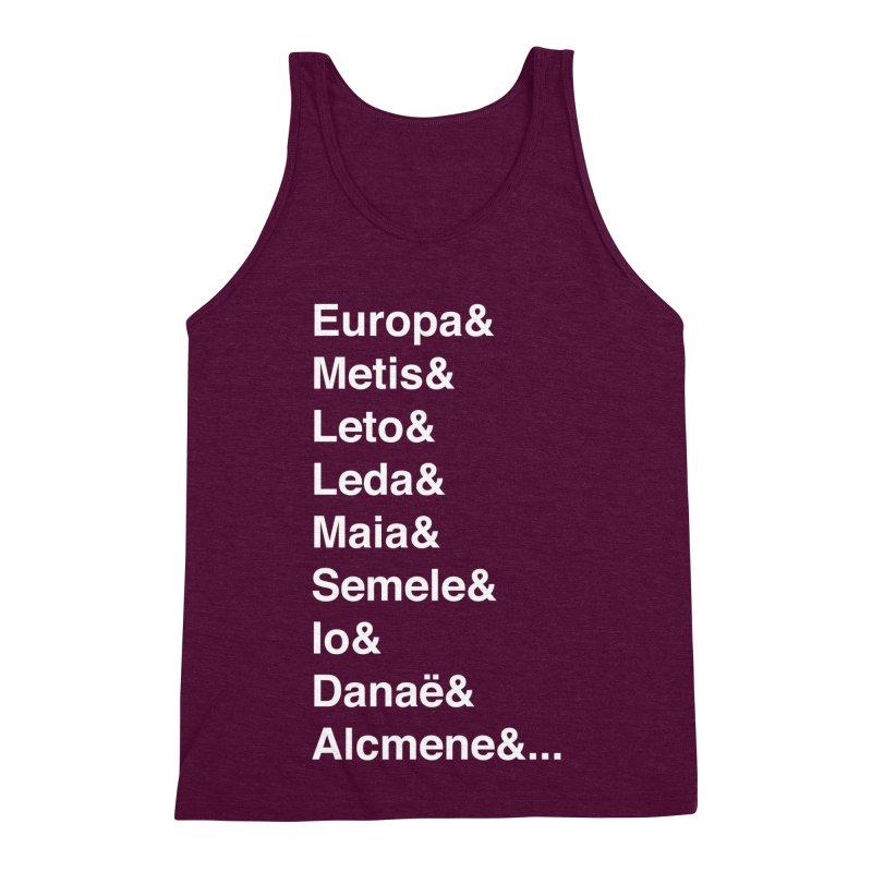 Helvetica Greek Survivors (White Text) Men's Triblend Tank by Myths Baby's Artist Shop