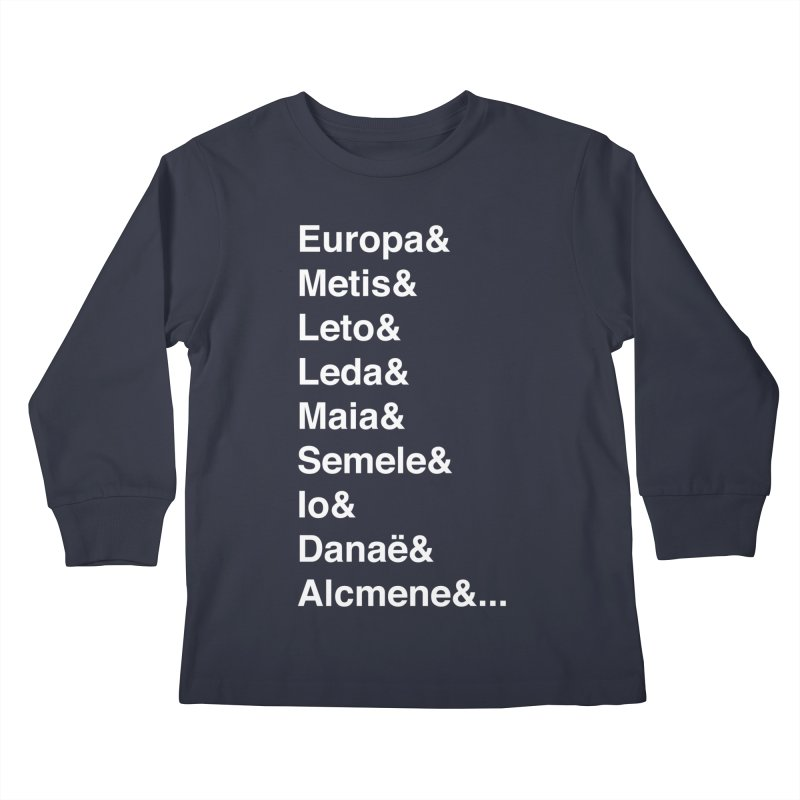 Helvetica Greek Survivors (White Text) **LAST CHANCE** Kids Longsleeve T-Shirt by Let's Talk About Myths, Baby! Merch Shop
