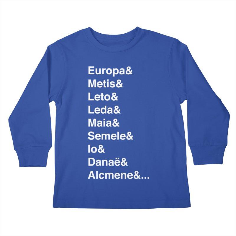 Helvetica Greek Survivors (White Text) **LAST CHANCE** Kids Longsleeve T-Shirt by Let's Talk About Myths, Baby! Merch Shop