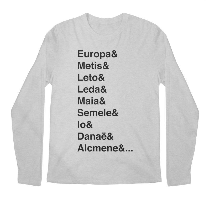 Helvetica Greek Survivors (Black Text) **LAST CHANCE** Men's Longsleeve T-Shirt by Let's Talk About Myths, Baby! Merch Shop