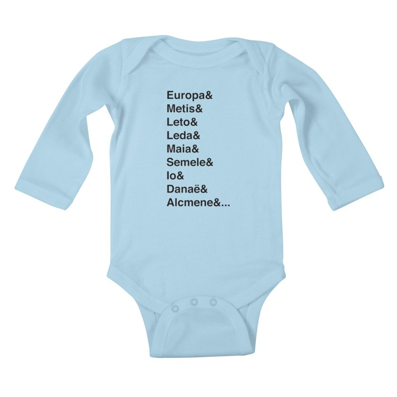 Helvetica Greek Survivors (Black Text) **LAST CHANCE** Kids Baby Longsleeve Bodysuit by Let's Talk About Myths, Baby! Merch Shop