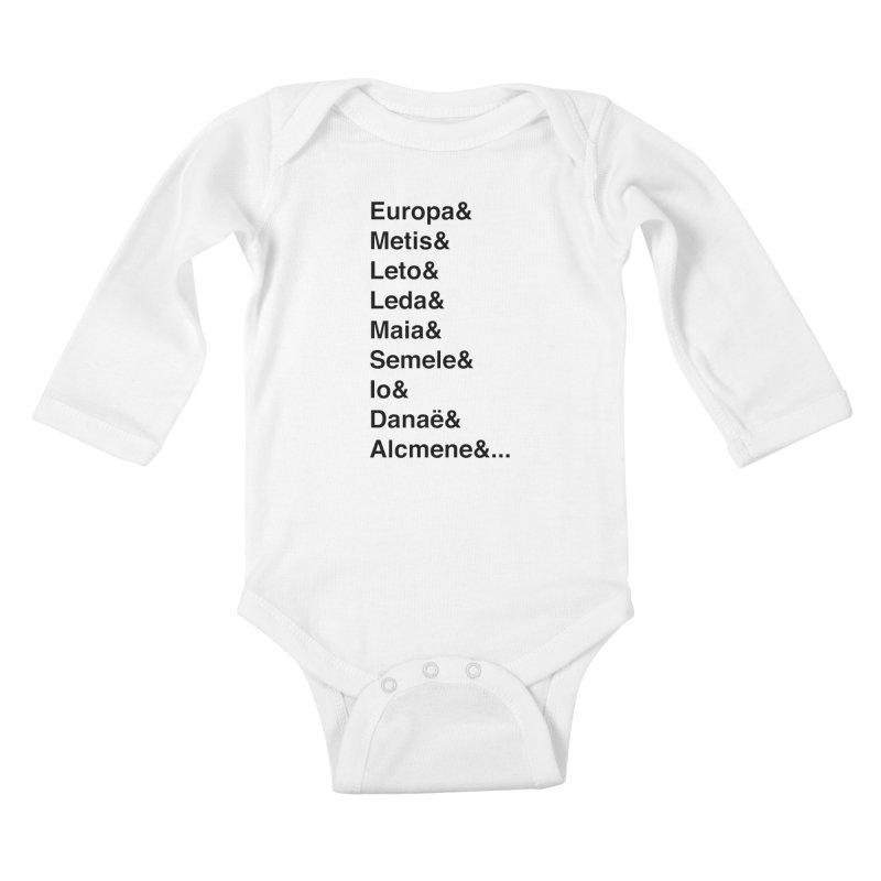 Helvetica Greek Survivors (Black Text) **LAST CHANCE** Kids Baby Longsleeve Bodysuit by Let's Talk About Myths, Baby! Merch Shop