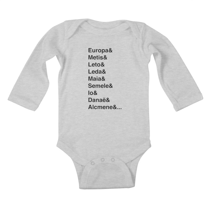 Helvetica Greek Survivors (Black Text) Kids Baby Longsleeve Bodysuit by Myths Baby's Artist Shop