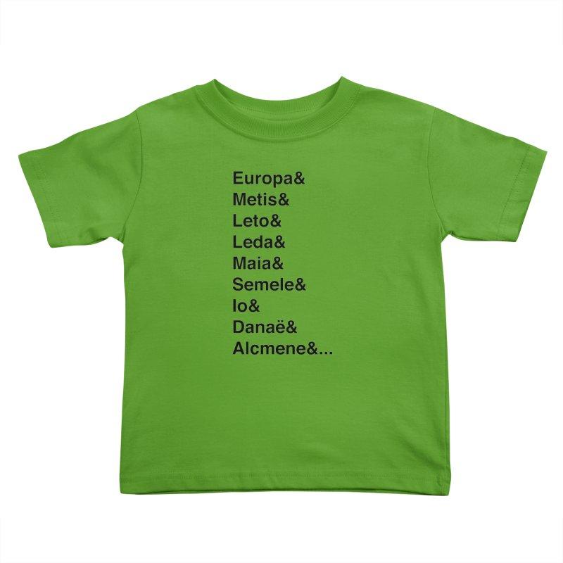 Helvetica Greek Survivors (Black Text) **LAST CHANCE** Kids Toddler T-Shirt by Let's Talk About Myths, Baby! Merch Shop