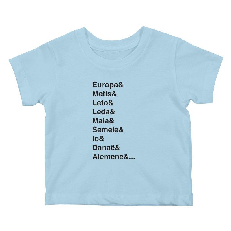 Helvetica Greek Survivors (Black Text) Kids Baby T-Shirt by Myths Baby's Artist Shop