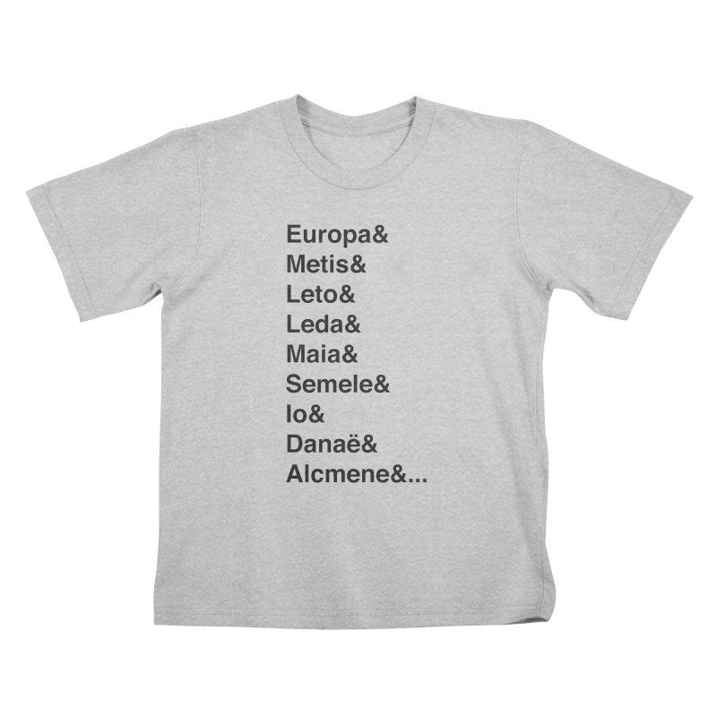 Helvetica Greek Survivors (Black Text) **LAST CHANCE** Kids T-Shirt by Let's Talk About Myths, Baby! Merch Shop