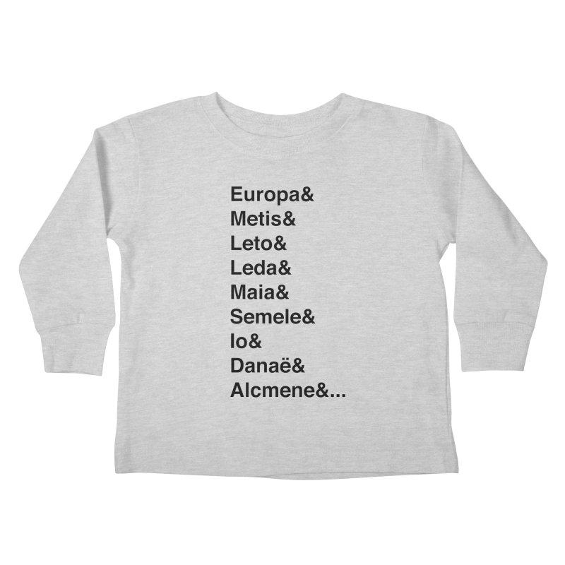 Helvetica Greek Survivors (Black Text) **LAST CHANCE** Kids Toddler Longsleeve T-Shirt by Let's Talk About Myths, Baby! Merch Shop