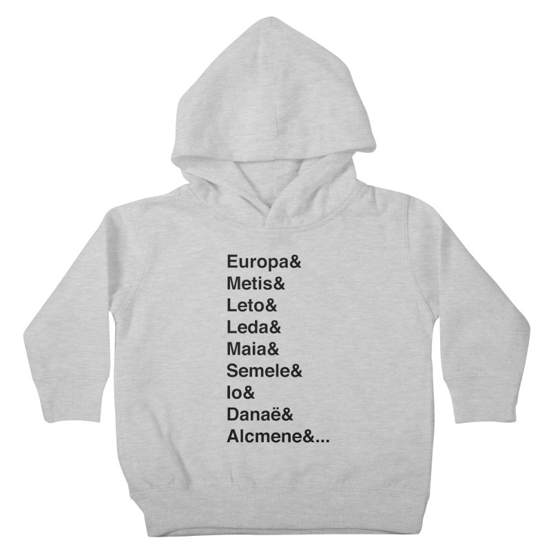 Helvetica Greek Survivors (Black Text) **LAST CHANCE** Kids Toddler Pullover Hoody by Let's Talk About Myths, Baby! Merch Shop