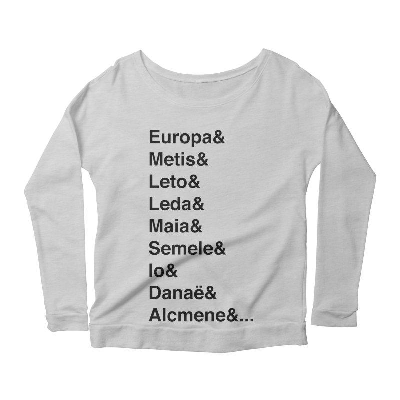 Helvetica Greek Survivors (Black Text) Women's Scoop Neck Longsleeve T-Shirt by Myths Baby's Artist Shop