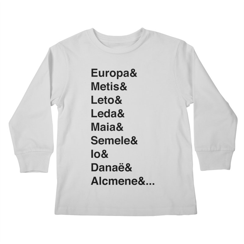 Helvetica Greek Survivors (Black Text) **LAST CHANCE** Kids Longsleeve T-Shirt by Let's Talk About Myths, Baby! Merch Shop