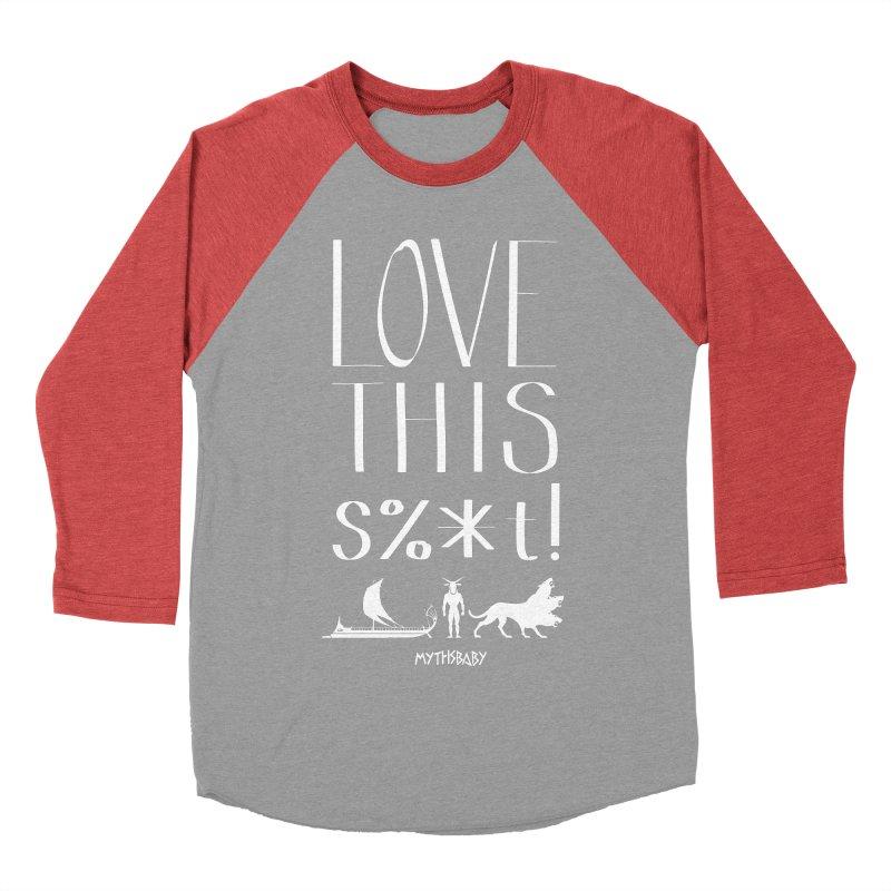 Love This Shit (White) Men's Baseball Triblend Longsleeve T-Shirt by Myths Baby's Artist Shop