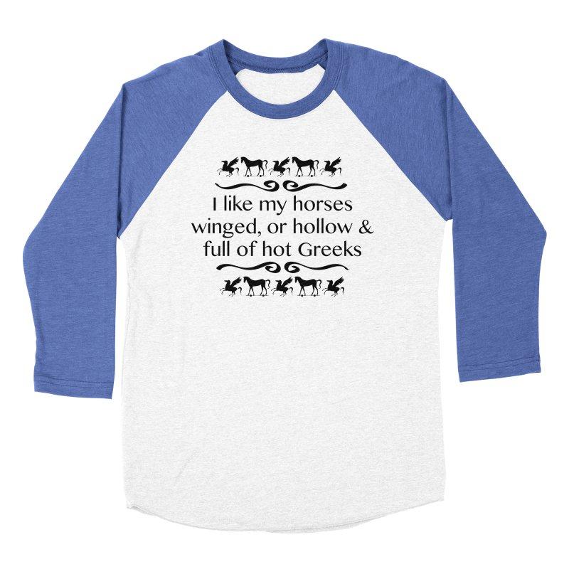 Greek Horses Men's Baseball Triblend Longsleeve T-Shirt by Myths Baby's Artist Shop