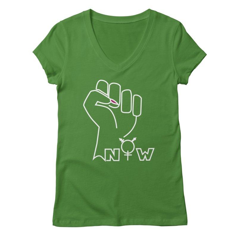 Fist of Change! (White) Women's Regular V-Neck by MyUmbrella Store