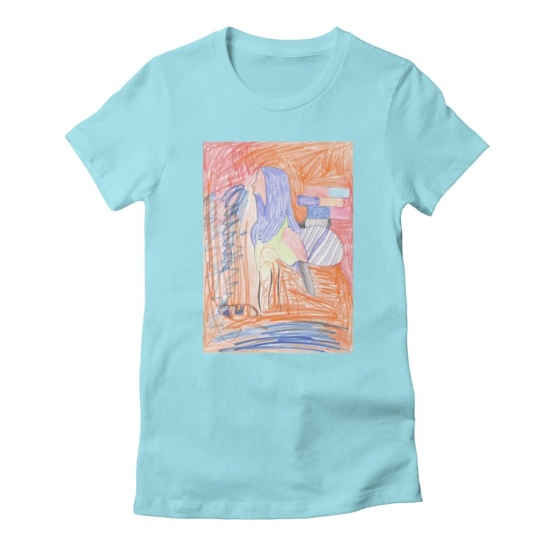 The Golden Hair Woman Women's Fitted T-Shirt by nagybarnabas's Artist Shop