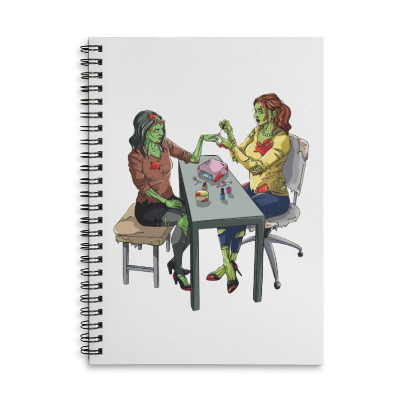 Zombie Salon Accessories Lined Spiral Notebook by Nails & Threads