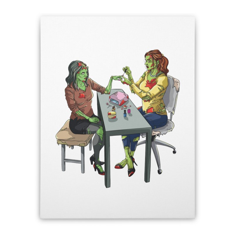 Zombie Salon Home Stretched Canvas by Nails & Threads