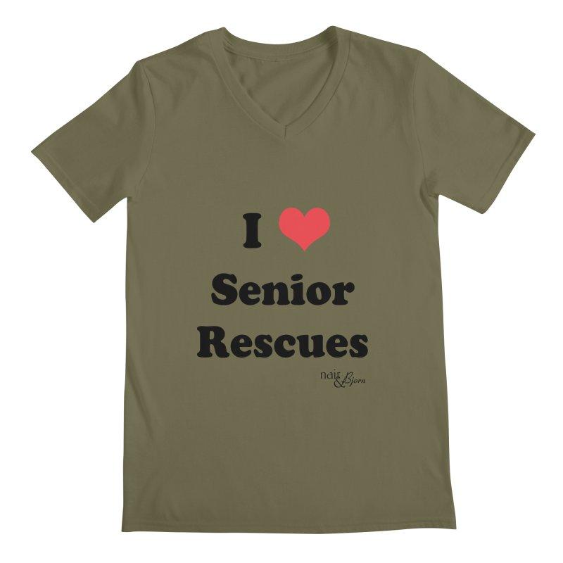 I ♥ Senior Rescues Men's Regular V-Neck by Nair & Bjorn Threadless Shop