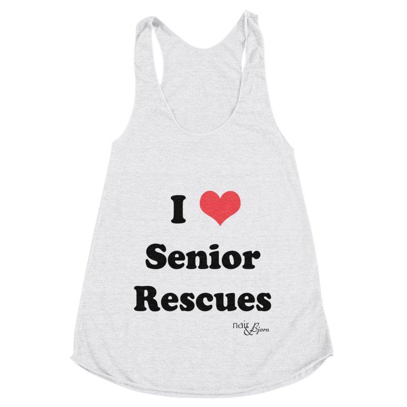 I ♥ Senior Rescues in Women's Racerback Triblend Tank Heather White by Nair & Bjorn Threadless Shop